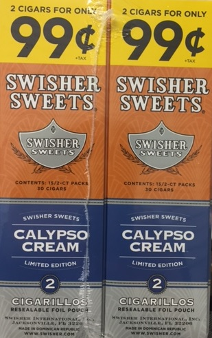Swisher Sweets Cigarillos Foil Pack Calypso Cream 2for0 99 - Cheap Little  Cigars