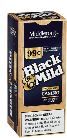 Black & Mild Cigars Casino Wood Tip Box 99c