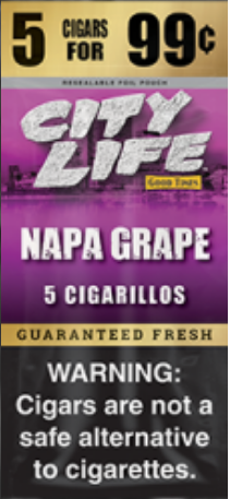 City Life Cigarillos Grape Pouch 5 /99c