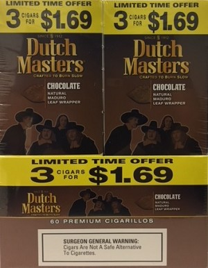 Dutch Masters Cigarillos Chocolate 3 for 1.69 (60ct)