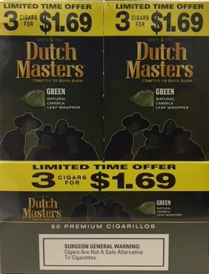 Dutch Masters Cigarillos Green 3 for 1.69 (60ct)
