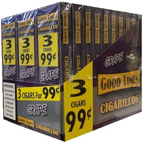 Good Times Cigarillos Grape 30/3 Packs 3 for $0.99 Pre-Priced
