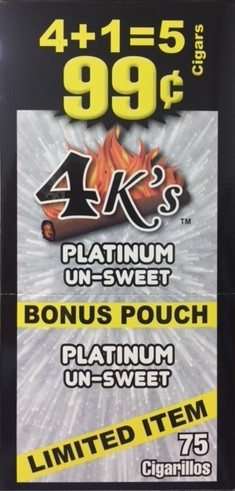4 Kings Platinum un-Sweet Cigar Pouch 5 for 99