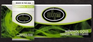 OHM Filtered Cigars Menthol Gold