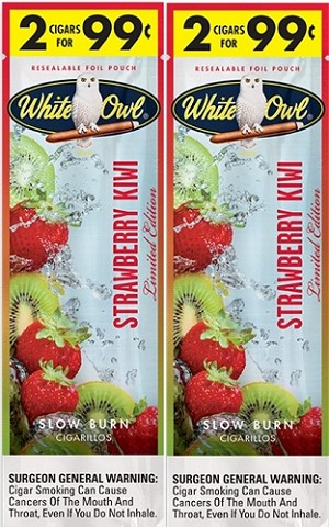 White Owl Cigarillos Foil Fresh Strawberry Kiwi 2for99